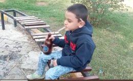 Küçük çocuğun eline içki, sigara verip o anları kaydettiler