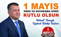 Hacıoğlu: 1 Mayıs Emek ve Dayanışma Günü kutlu olsun