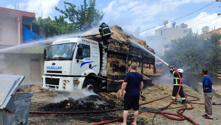 Hatay'da saman yüklü kamyon yandı